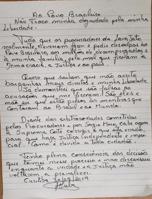 carta de lula a brasil